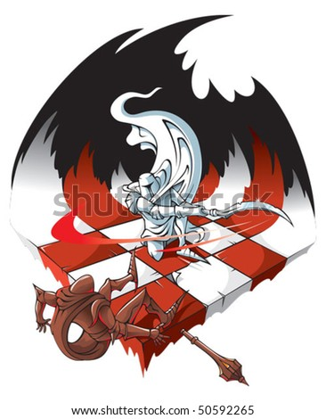 Chessboard: winners and losers, the White knight is defeating the Black knight, vector illustration - stock vector