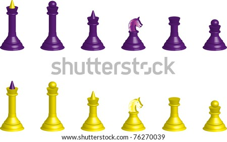Chessmen collection 3D isolated on a white background - stock vector