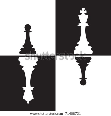 Chessmen - Pawns reflected as Queen and King. Black and white vector illustration. All objects are on separate layers and can be easily removed if needed. - stock vector