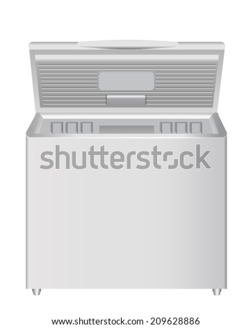 Chest Freezer Isolated on White - stock vector