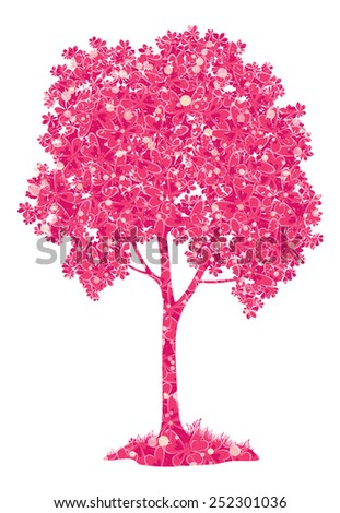 Chestnut pink tree with a pattern of leaves and butterflies and grass, symbol of spring, isolated on a white background. Eps10, contains transparencies. Vector - stock vector