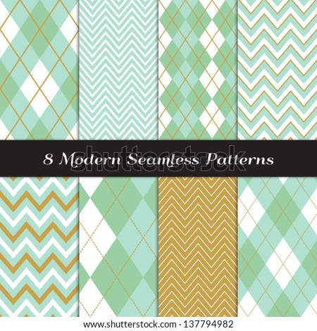 Chevron and Argyle Patterns in Green Mint and Gold. Pattern Swatches made with Global Colors - easy to change all patterns in one click. - stock vector