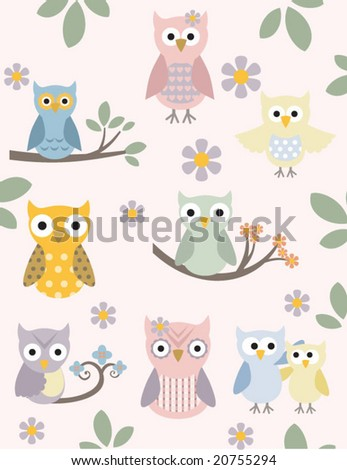 Chic and adorable owl illustration set - stock vector