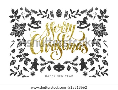 "Chic and Luxury Christmas Postcard with Gold Foil Christmas Elements and Handwritten Calligraphic ""Merry Christmas"" Inscription"