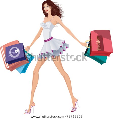 Chic lady with shopping bags - stock vector