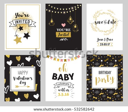 Chic party glitter greeting cards invitations stock vector 2018 chic party glitter greeting cards and invitations gold hearts speech bubbles stars and stopboris Images