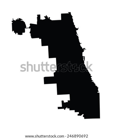 Chicago City map vector map, isolated on white background. High detailed silhouette illustration. - stock vector
