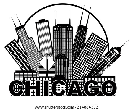Chicago City Skyline Panorama Black Outline Silhouette in Circle with Text Isolated on White Background Vector Illustration - stock vector