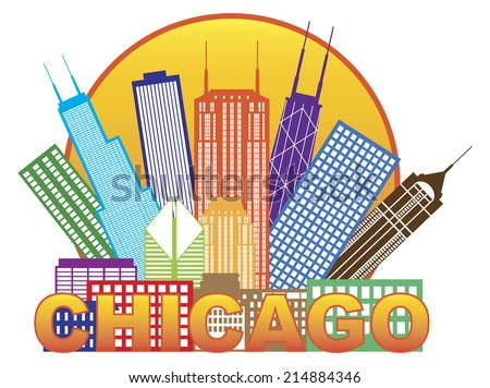 Chicago City Skyline Panorama Color Outline Silhouette in Circle with Text Isolated on White Background Vector Illustration - stock vector