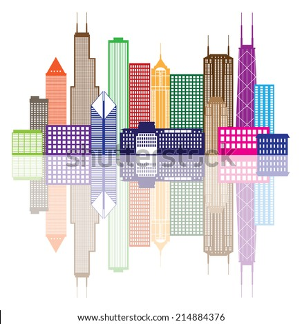 Chicago City Skyline Panorama Color Outline Silhouette with Reflection Isolated on White Background Vector Illustration - stock vector