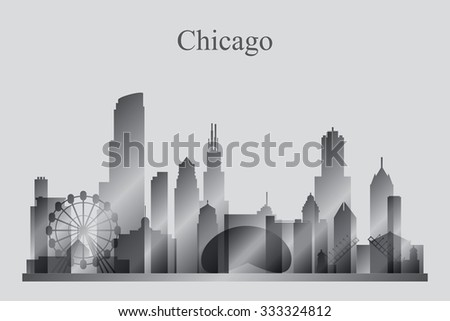 Chicago city skyline silhouette in grayscale, vector illustration  - stock vector