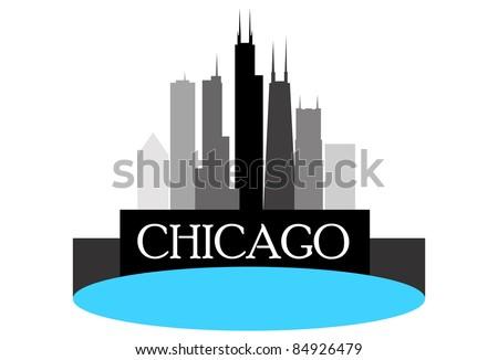 Chicago high rise buildings skyline - stock vector