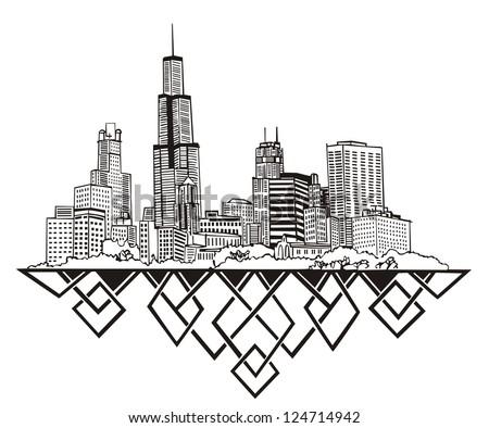 Chicago, IL Skyline. Black and white vector illustration EPS 8. - stock vector