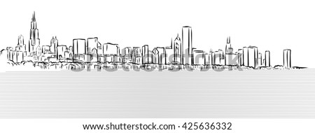 Chicago Outline Sketch with Michigan Lake in Foreground, Hand Drawn Vector Illustration - stock vector