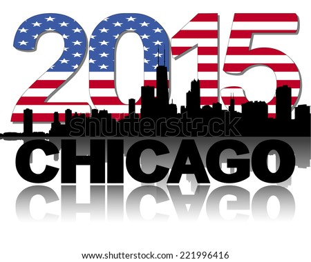 Chicago skyline 2015 flag text vector illustration - stock vector