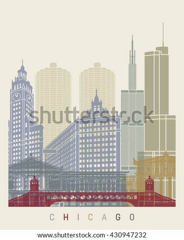 Chicago skyline poster in editable vector file