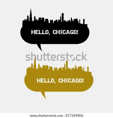 Chicago skyline vector landscape, speech bubble - stock vector