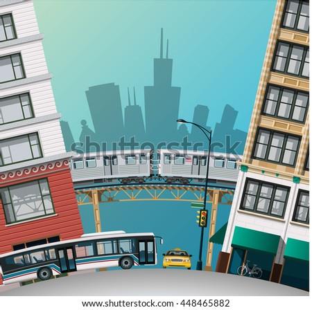 Chicago Traffic - stock vector