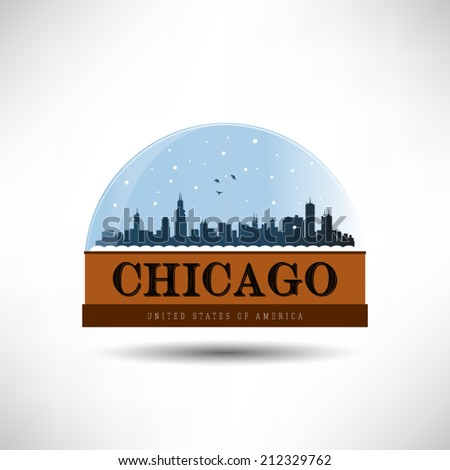 Chicago, United States of America city skyline silhouette in snow globe. Vector design. - stock vector