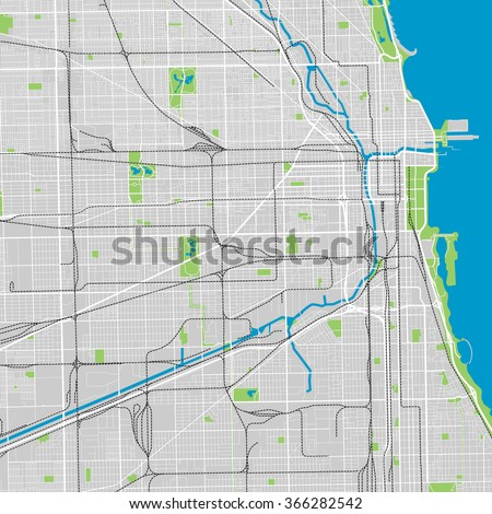 Chicago vector map ultra detailed - stock vector