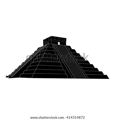 Chichen itza, mexican mayan pyramid on white background, vector illustration - stock vector