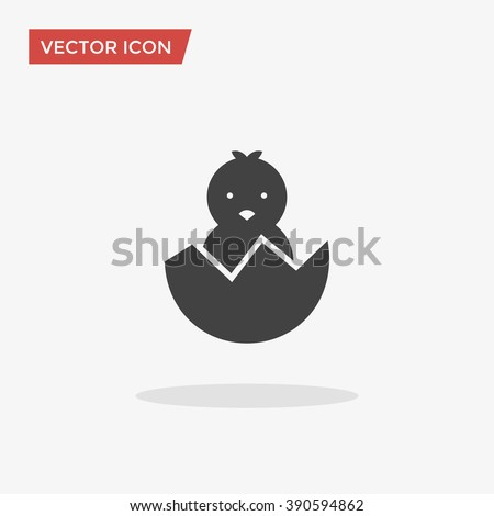 chick in trendy flat style isolated on grey background easter symbol for your web site