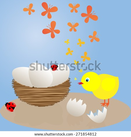 chick near the nest - stock vector