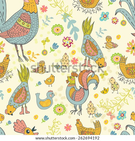Chicken and rooster cartoon seamless pattern, cute illustration - stock vector