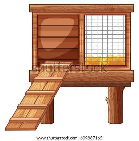Chicken Coop Made Wood Illustration Stock Vector 609887165
