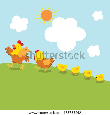 Chicken family walk. Vector illustration of cock, hen and little chicks walk together under the sun. - stock vector