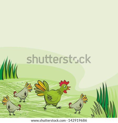 chicken farm green hens free run on sunny summer day animal wildlife ...