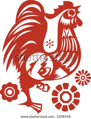 Chicken in Chinese Traditional Paper Cut Style ( Vector )