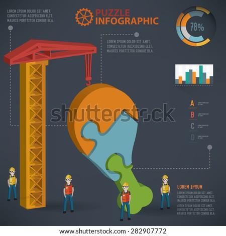 Chicken leg puzzle design, info graphic design. Clean vector. - stock vector