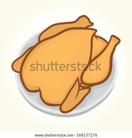 Chicken on a plate isolated vector - stock vector