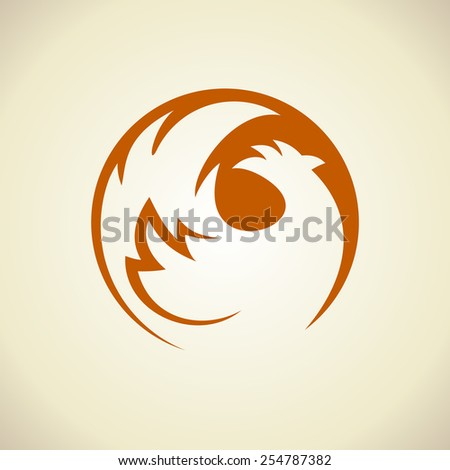 Chicken silhouette in a circle logo template. - stock vector