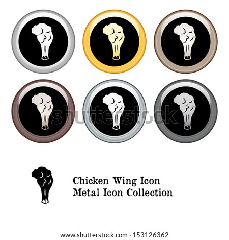 Chicken Wing Icon Metal Icon Set - stock vector