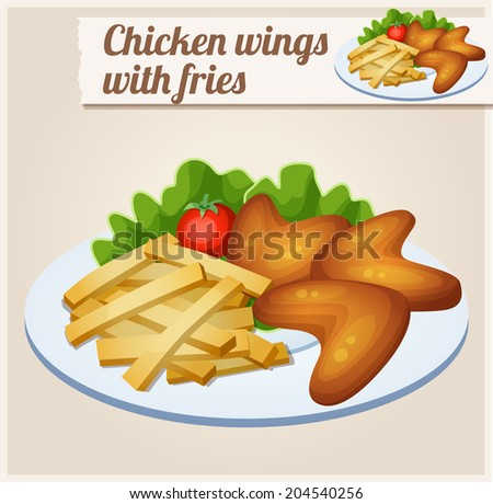 Chicken wings with french fries. Detailed Vector Icon. Series of food and drink and ingredients for cooking. - stock vector