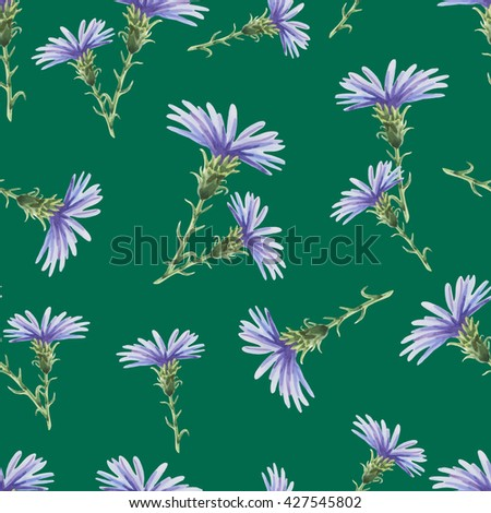 Chicory.Beautiful seamless pattern with delicate watercolor flowers on a green background.Vector illustration.Can be used for gift wrapping paper,tissue,textiles. - stock vector