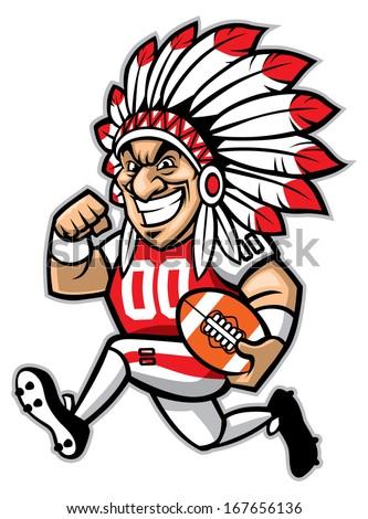 chief american football mascot - stock vector