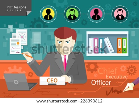 Chief executive officer sitting at table in his office, signing documents profession series - stock vector