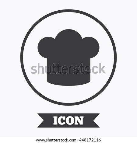 Chief hat sign icon. Cooking symbol. Cooks hat. Graphic design element. Flat symbol in circle button. Vector