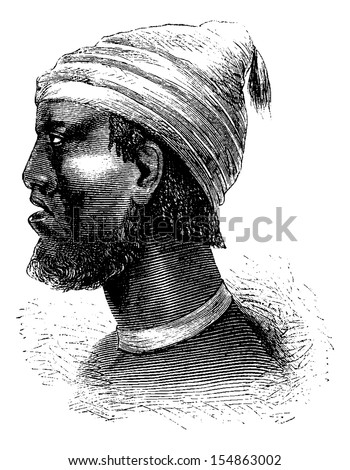Chief of Chindonga of Angola in Southern Africa, engraving based on the English edition, vintage illustration. Le Tour du Monde, Travel Journal, 1881 - stock vector