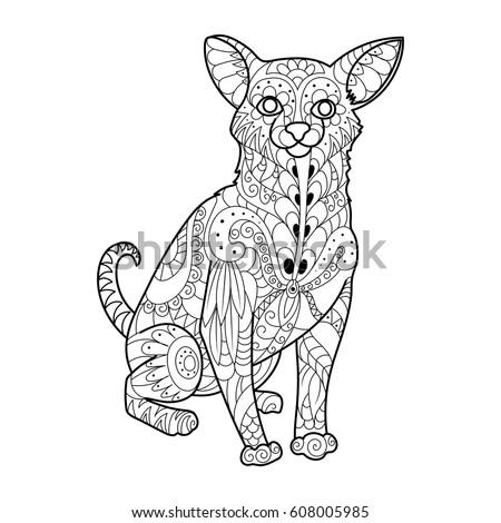 Chihuahua Dog Coloring Book Vector Illustration Stock Vector ...