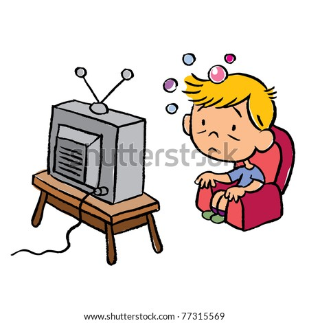 child addicted to television - stock vector