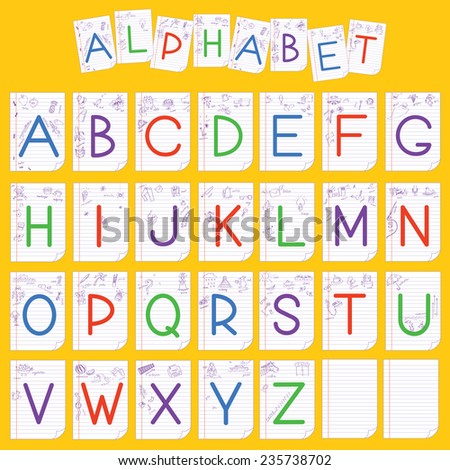Child alphabet with painting.Vector illustration