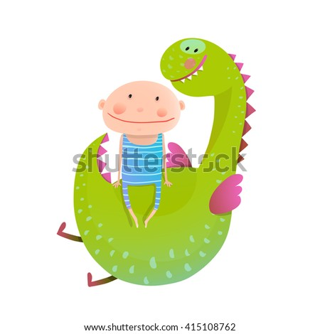 Child and dragon friendly friendship happy together. Baby and dragon. Animal cute monster, small kid cheerful, vector illustration. - stock vector