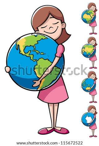 Child and Earth: Little girl hugging the Earth over white background. On the right are 4 more versions, differing by the shown part of the Earth. - stock vector