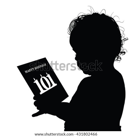 child birthday black silhouette illustration with card - stock vector