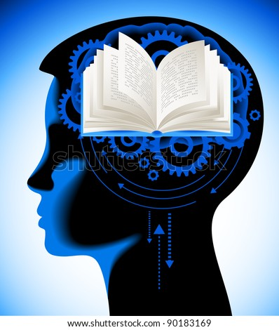 child brain book.The School of sciences - stock vector