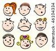Child cartoon vector design. Doodle face. - stock vector